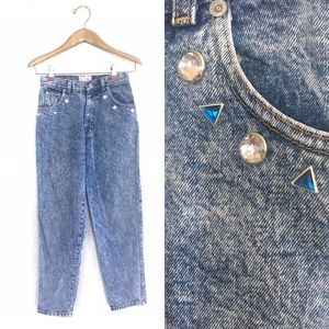 Vintage Sasson Jewel Crystal Stud Mom Jeans